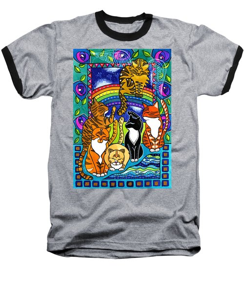 Meet Me At The Rainbow Bridge - Cat Painting Baseball T-Shirt