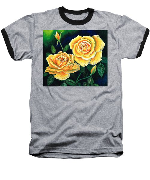 Baseball T-Shirt featuring the painting Mellow Yellow by Val Stokes