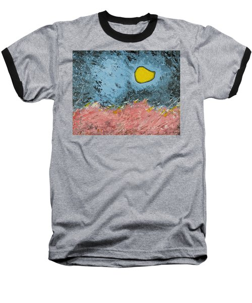 Baseball T-Shirt featuring the painting Melting Moon Over Drifting Sand Dunes by Ben Gertsberg