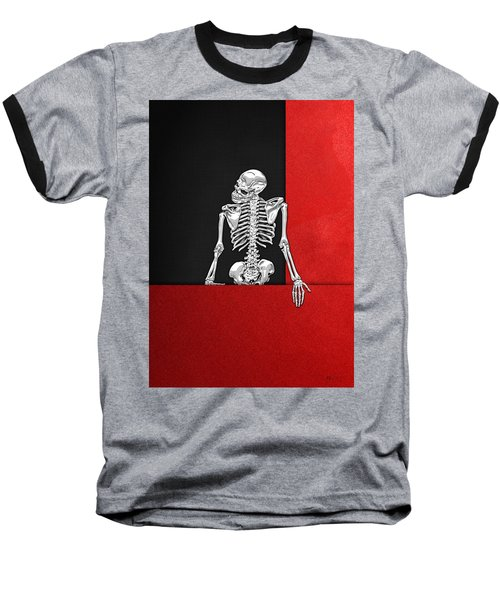Memento Mori - Skeleton On Red And Black  Baseball T-Shirt by Serge Averbukh