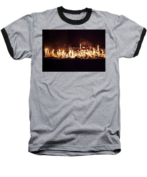 Memorial Candles Baseball T-Shirt by Yoel Koskas