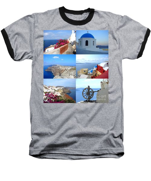 Baseball T-Shirt featuring the photograph Memories From Santorini by Ana Maria Edulescu