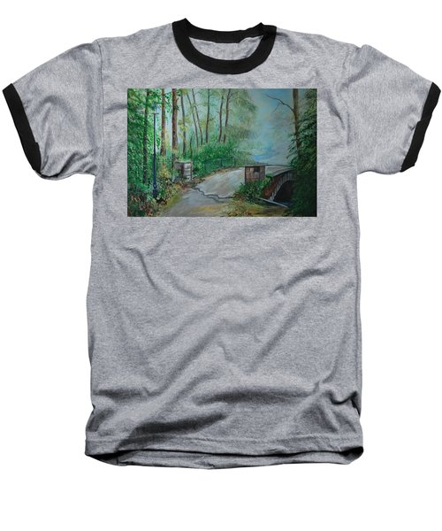 Baseball T-Shirt featuring the painting Memory Bridge by Leslie Allen
