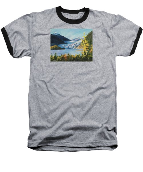 Baseball T-Shirt featuring the painting Mendenhall Glacier Juneau Alaska by Yulia Kazansky