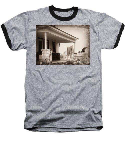 Mennonite Girl Hanging Laundry Baseball T-Shirt