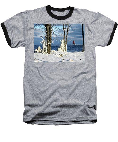 Menominee Lighthouse Ice Sculptures Baseball T-Shirt