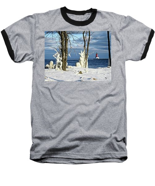 Menominee Lighthouse Ice Sculptures Baseball T-Shirt