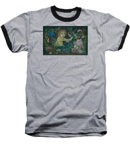 Merbaby Golden Green Baseball T-Shirt by Dawn Fairies