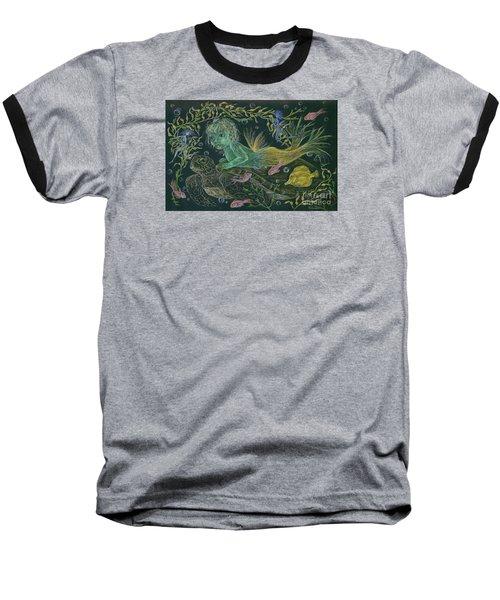 Merbaby Green Baseball T-Shirt by Dawn Fairies