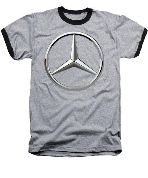 Mercedes-benz - 3d Badge On Black Baseball T-Shirt