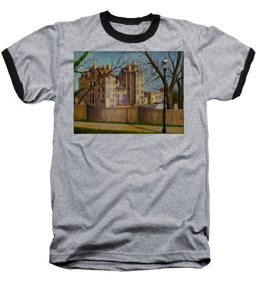 Baseball T-Shirt featuring the painting Mercer Museum by Oz Freedgood