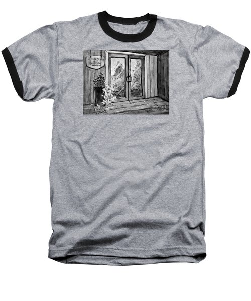 Baseball T-Shirt featuring the painting Mercier Orchard's Cider In Bw by Gretchen Allen