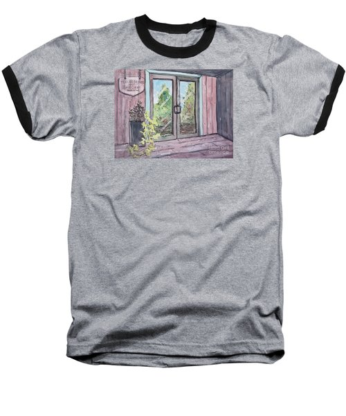 Baseball T-Shirt featuring the painting Mercier Orchard's Hard Cider by Gretchen Allen