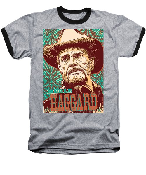 Merle Haggard Pop Art Baseball T-Shirt by Jim Zahniser