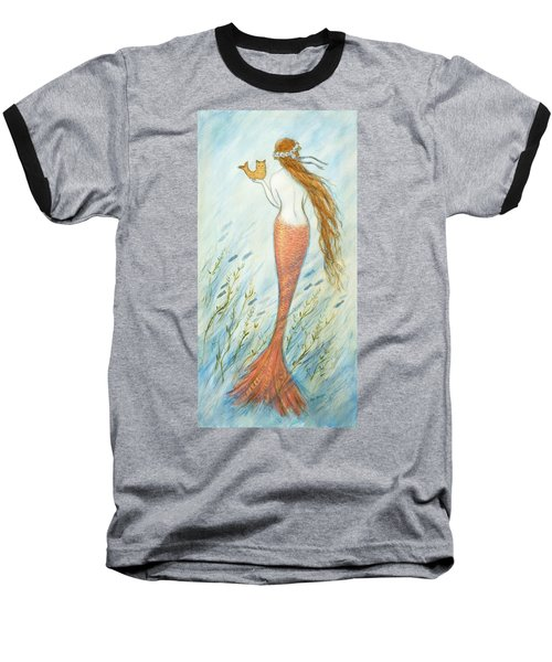 Mermaid And Her Catfish, Goldie Baseball T-Shirt by Tina Obrien