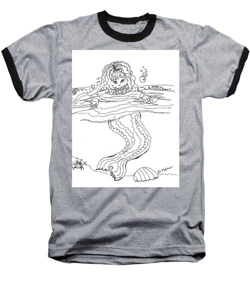 Mermaid Bubblebath Bw Baseball T-Shirt