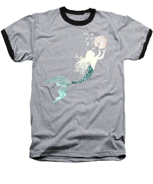 Mermaid Gathering Pearls Creamy White Siren Holds A Huge Pearl Baseball T-Shirt