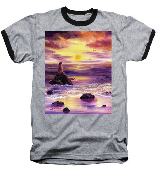 Mermaid In Purple Sunset Baseball T-Shirt
