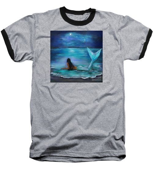 Mermaid Moon And Stars Baseball T-Shirt by Leslie Allen