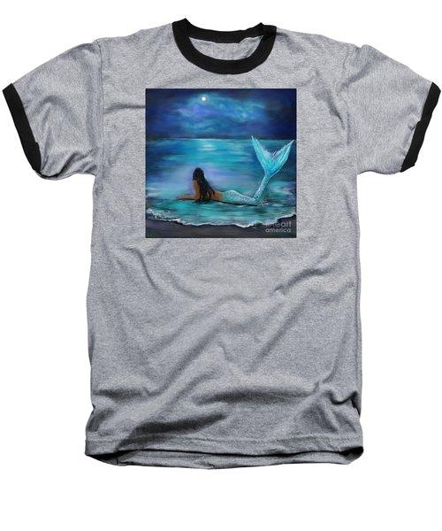 Mermaid Moon And Stars Baseball T-Shirt