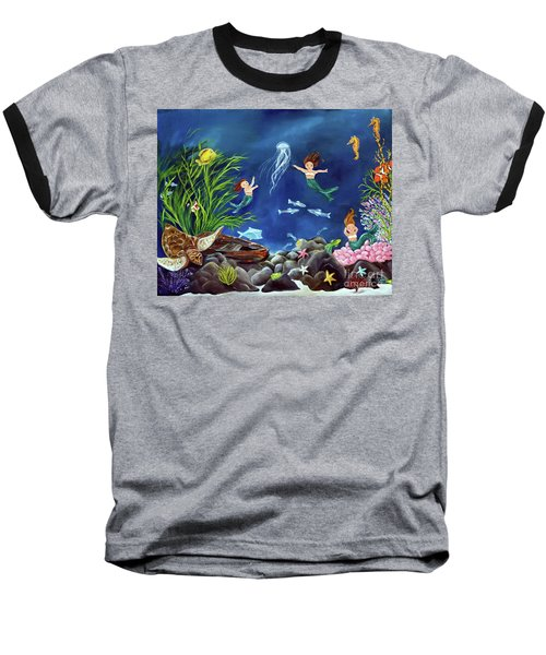 Baseball T-Shirt featuring the painting Mermaid Recess by Carol Sweetwood