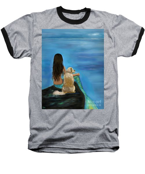 Baseball T-Shirt featuring the painting Mermaids Loyal Buddy by Leslie Allen