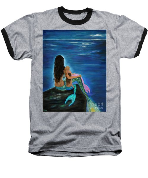 Baseball T-Shirt featuring the painting Mermaids Sweet Little Girls by Leslie Allen