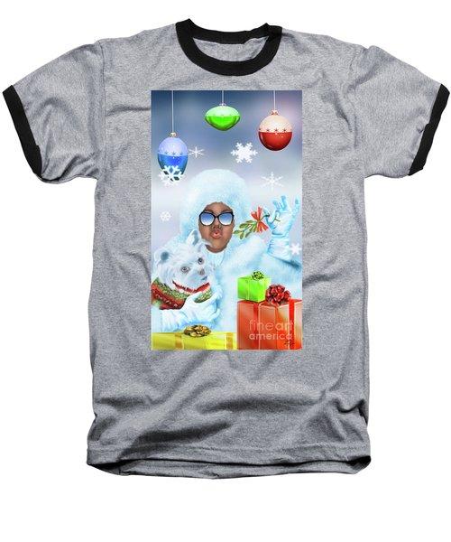 Merry Christmas And Kisses Baseball T-Shirt