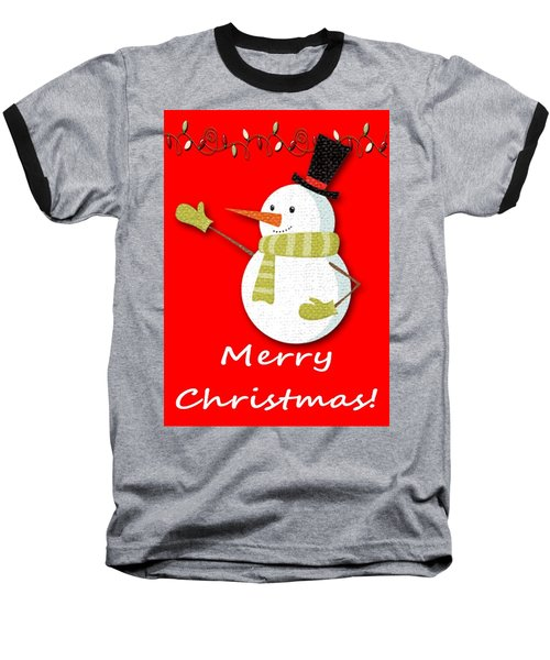 Merry Christmas Big Snow Man On Red Baseball T-Shirt