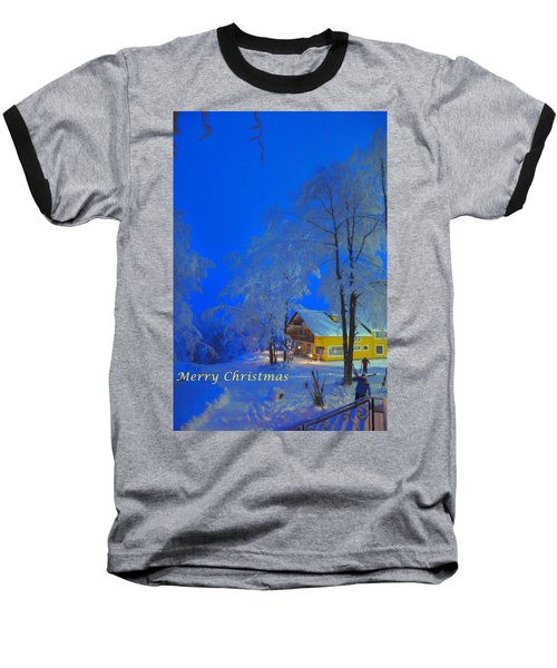 Merry Christmas Cabin Digital Art Baseball T-Shirt