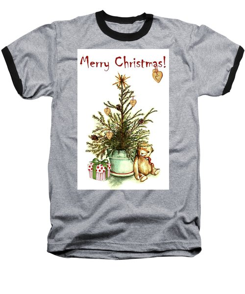 Baseball T-Shirt featuring the painting Merry Christmas by Heidi Kriel