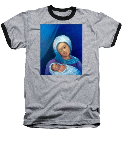 Baseball T-Shirt featuring the painting Merry Christmas by Laila Awad Jamaleldin