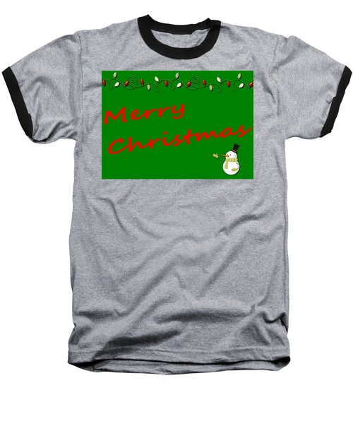 Merry Christmas Little Snow Man On Green Baseball T-Shirt