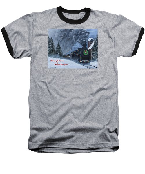 Merry Christmas Train Baseball T-Shirt