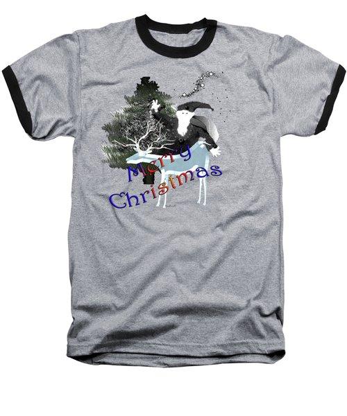 Merry Old Santa Baseball T-Shirt by Asok Mukhopadhyay