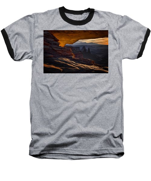 Baseball T-Shirt featuring the photograph Mesa Arch Glow by Jaki Miller