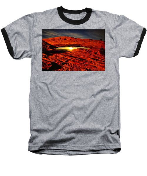 Mesa Arch Moonshine Baseball T-Shirt by Greg Norrell