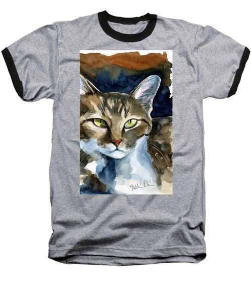 Mesmerizing Eyes - Tabby Cat Painting Baseball T-Shirt