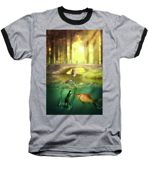 Message In A Bottle Baseball T-Shirt by Nathan Wright