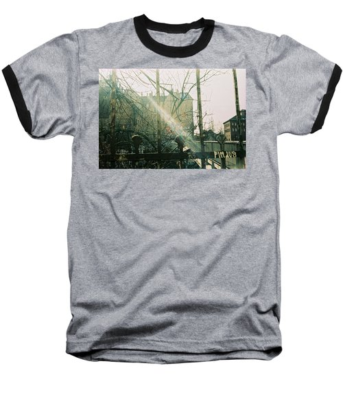 Metal Fence With Grafitti And Bridge Baseball T-Shirt