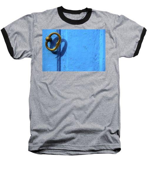 Baseball T-Shirt featuring the photograph Metal Knob Blue Door by Prakash Ghai