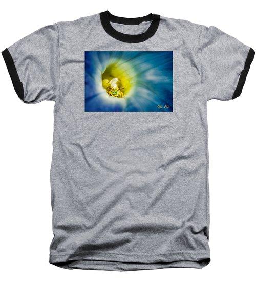Metallic Green Bee In Blue Morning Glory Baseball T-Shirt