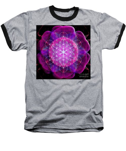 Metatron's Cube On Fractal Pletals Baseball T-Shirt