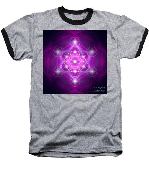 Metatron's Cube Purple Baseball T-Shirt