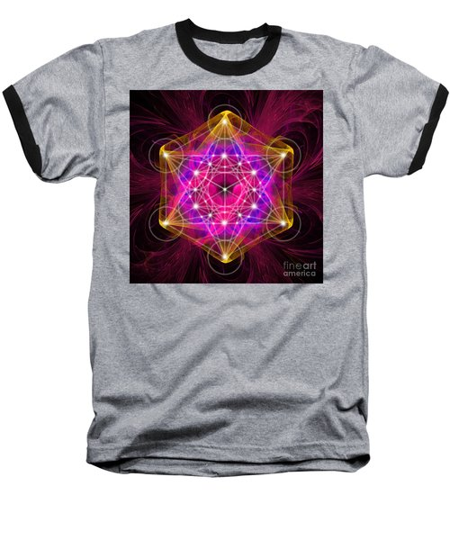 Metatron's Cube With Flower Of Life Baseball T-Shirt