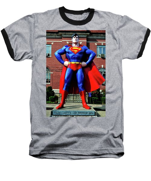 Metropolis - Home Of Superman 001 Baseball T-Shirt by George Bostian