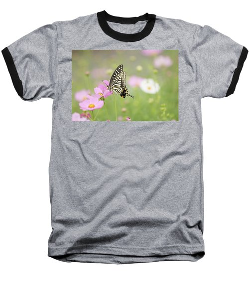 Mexican Aster With Butterfly Baseball T-Shirt by Hyuntae Kim