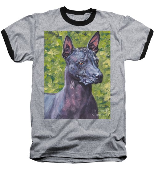 Baseball T-Shirt featuring the painting Mexican Hairless Dog Standard Xolo by Lee Ann Shepard