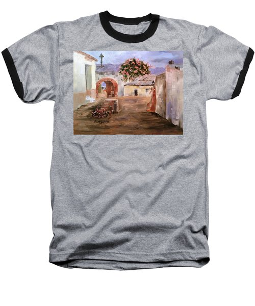 Mexican Street Scene Baseball T-Shirt by Larry Hamilton