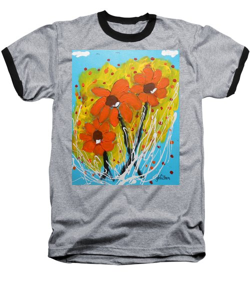 Mexican Sunflowers Flower Garden Baseball T-Shirt